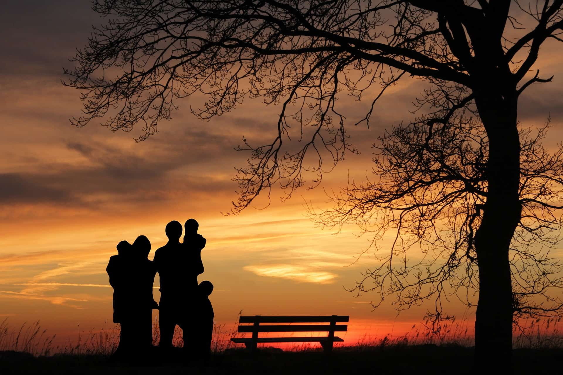 Sunset and a family enjoying the view