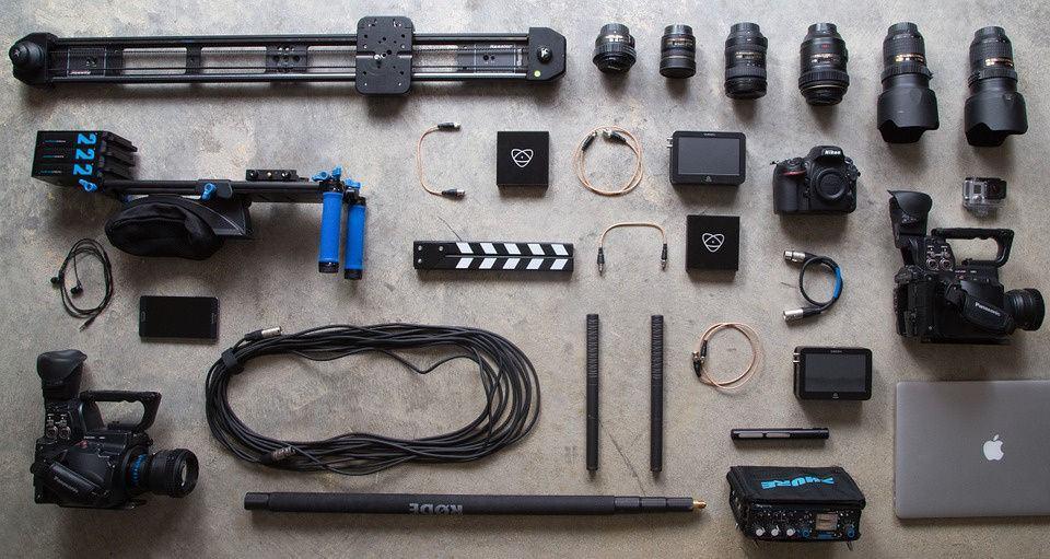Professional photography equipment laid out on a table