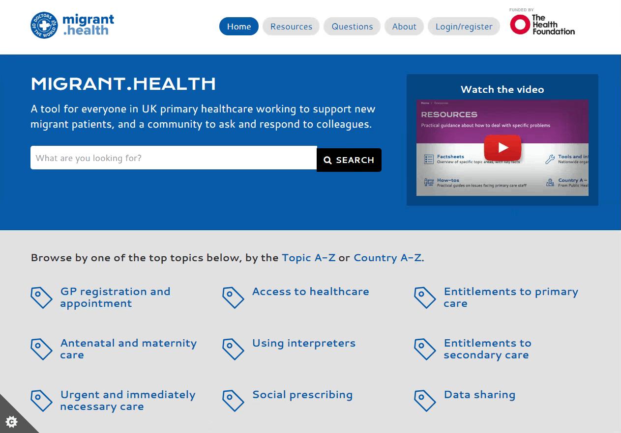 Screenshot of the migrant.health website