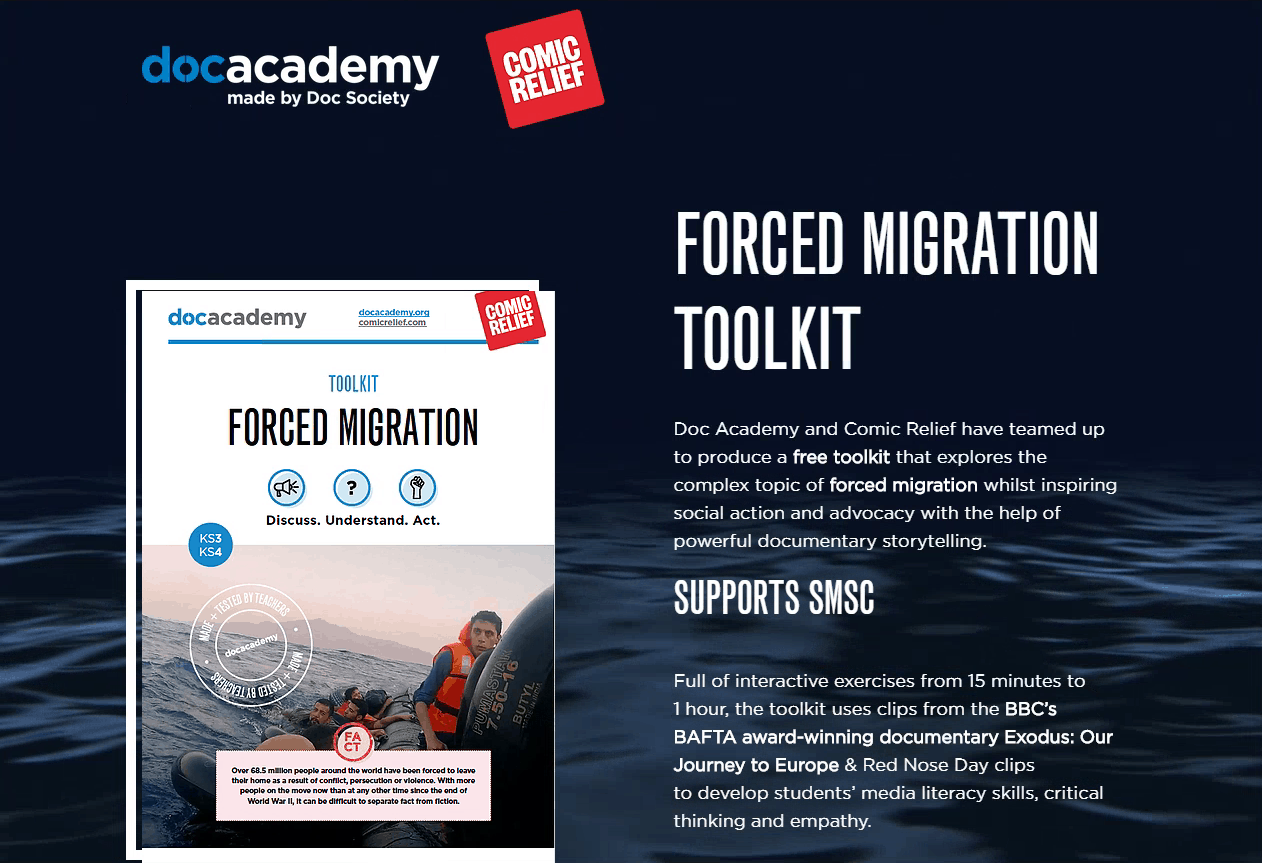 Screenshot of the Forced Migration Toolkit website