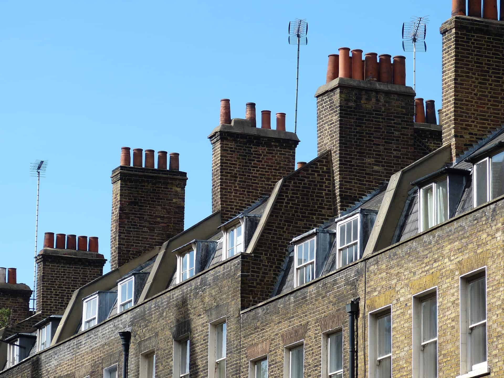Chimneys on a row of terraced housing