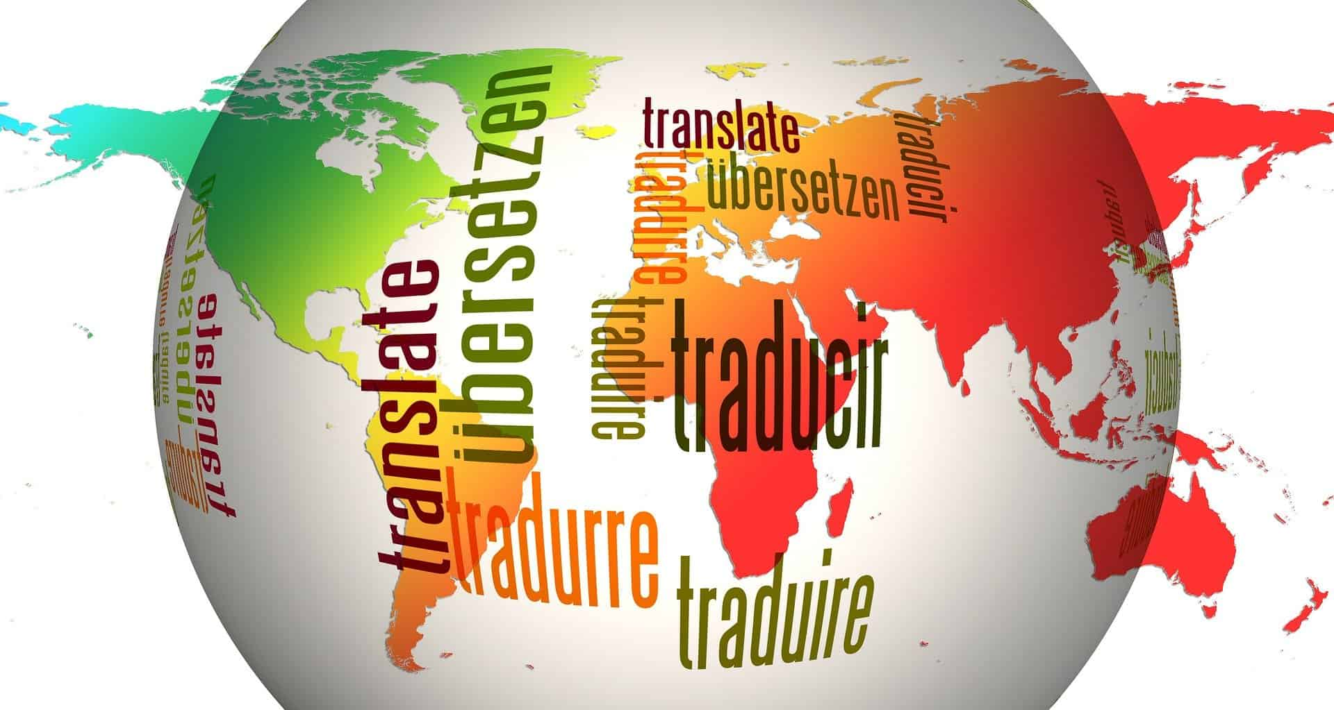 The words translate written in different languages laid across a globe
