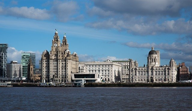 The port of Liverpool with the sea in front of the Liver building