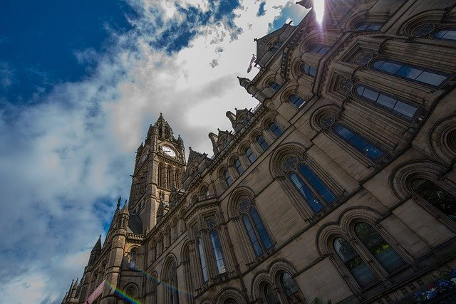 The Town Hall in Manchester on a sunny day