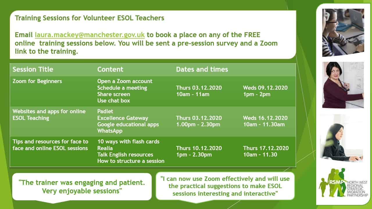 Flyer promoting free ESOL training sessions with images of diverse adult learners and the North West RSMP logo