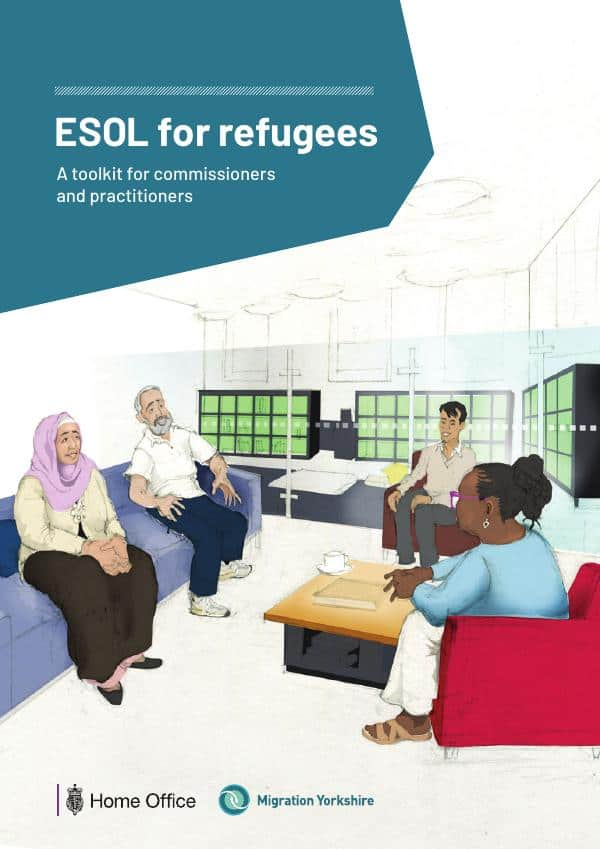 The front cover of the ESOL for refugees shows adults from BAME communities sat talking around a table