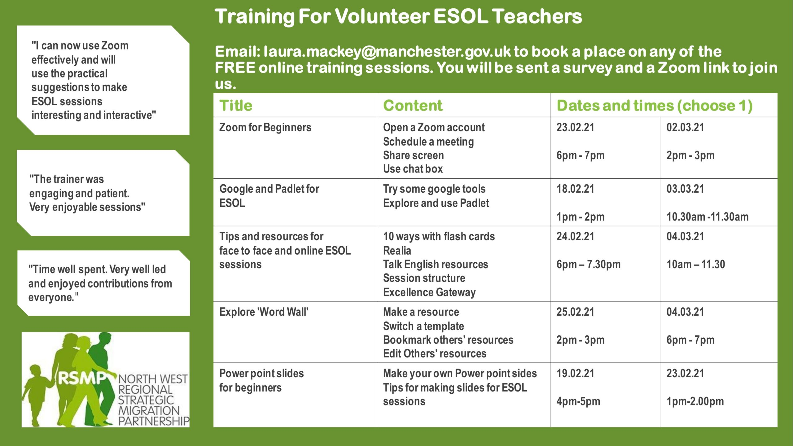A list of free online training sessions for ESOL Volunteers in Feb and March 2021. Please register with laura.mackey@manchester.gov.uk