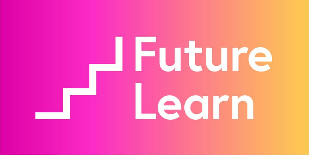 A logo for 'Future Learn' which is pink and orange with steps going upwards.