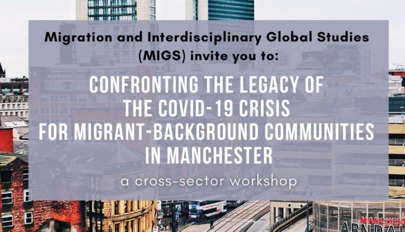 """Poster with text - """"Migration and Interdisciplinary Global Studies (MIGS) invite you to: Confronting the legacy of the COVID-19 crisis for migrant-background communities in Manchester - a cross-sector workshop"""